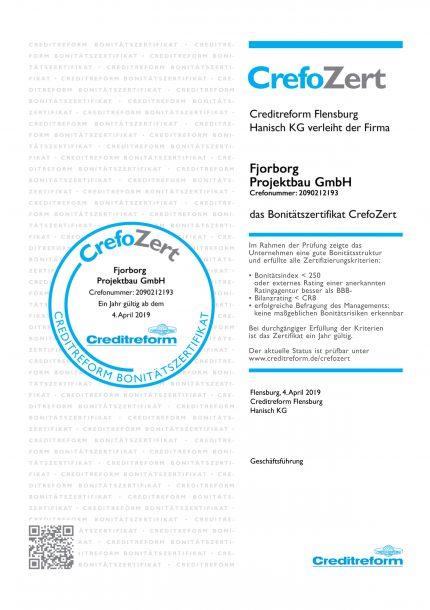 Bonitätszertifikat Fjorborg Projektbau - CrefoZert - Qualität und Zertifikate