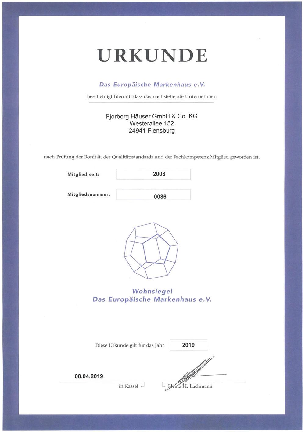 Fjorborg Haeuser - Qualitaet und Zertifikate - Wohnsiegel Urkunde 2019