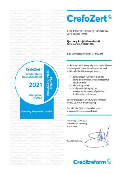 Crefo Zertifikat - Fjorborg Haeuser - beste Bonitaet 2021